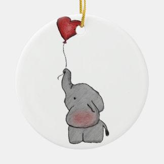 Elephant Holding Balloon Ceramic Ornament