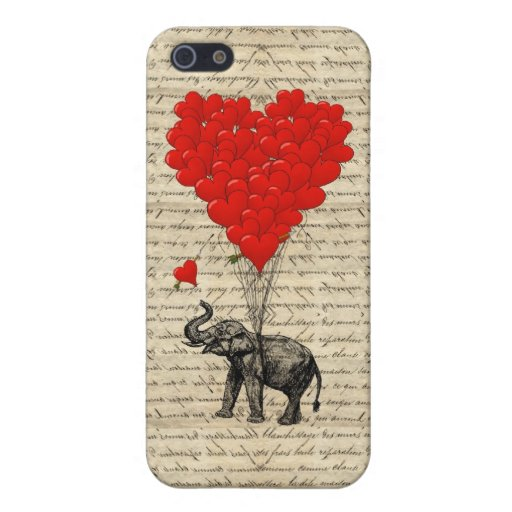 Elephant holding heart balloons case for iPhone 5/5S