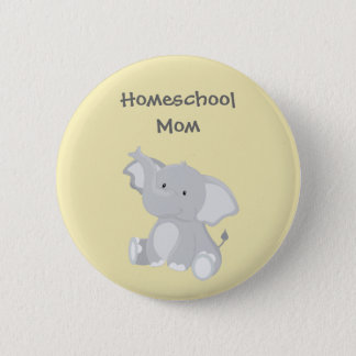 Elephant Homeschool Mom 6 Cm Round Badge