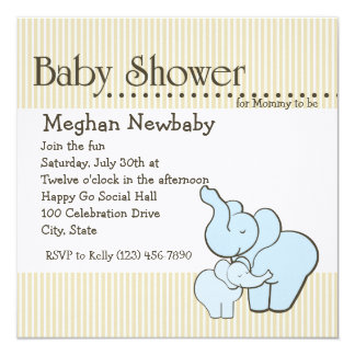 Elephant Hugs Baby Shower Card