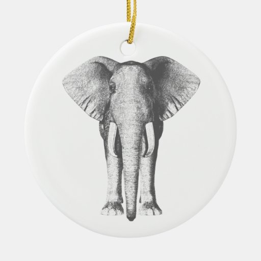 Elephant in Black and White Christmas Tree Ornament