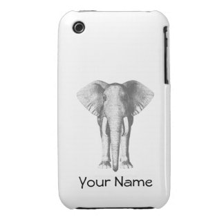 Elephant in Black and White iPhone 3 Case-Mate Case