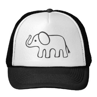 Elephant in Black and White Sketch Trucker Hat