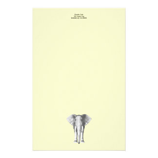 Elephant in Black and White Customized Stationery