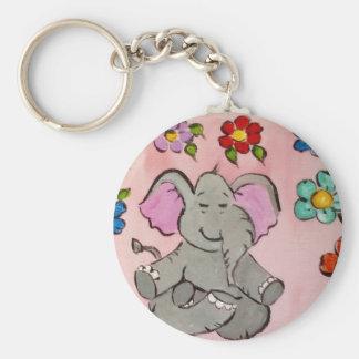 Elephant in meditation basic round button key ring