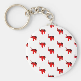Elephant In Red Basic Round Button Key Ring