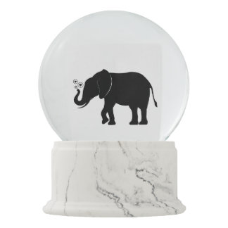 Elephant in Silhouette Snow Globe
