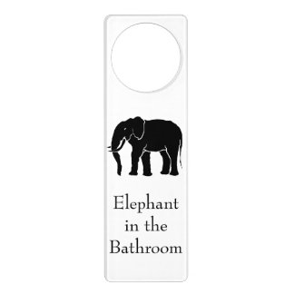 Elephant in the Room Black African Elephant Door Hanger