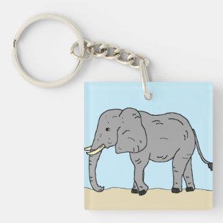 Elephant in the Savanna Single-Sided Square Acrylic Key Ring