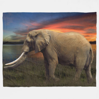 Elephant In The Sunset Fleece Blanket, Large