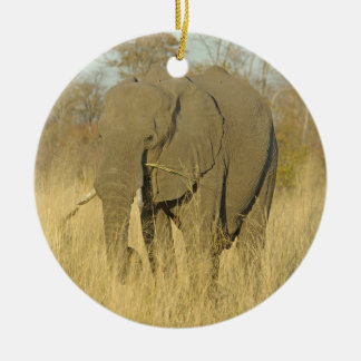 Elephant in the Tall Grass Ceramic Ornament