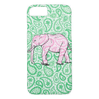 Elephant iPhone Case Green Paisley