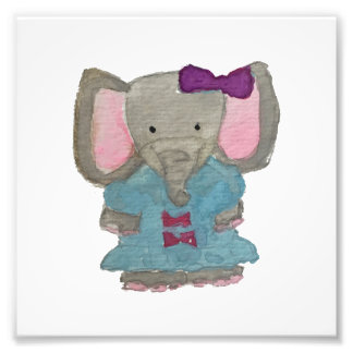 Elephant Jungle Friends Baby Animal Water Color Photograph