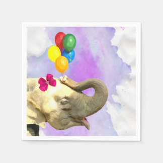 Elephant jungle safari animal watercolor disposable napkins