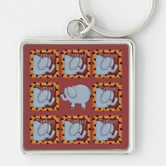 Elephant Silver-Colored Square Key Ring