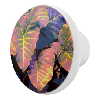 Elephant Leaves in Tropical Pastels Ceramic Knob