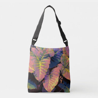 Elephant Leaves in Tropical Pastels Crossbody Bag