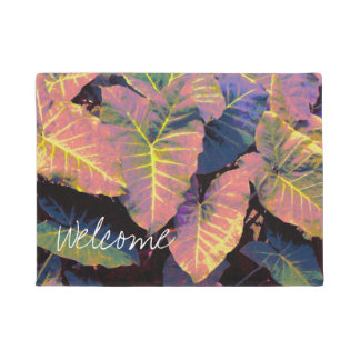 Elephant Leaves in Tropical Pastels Doormat