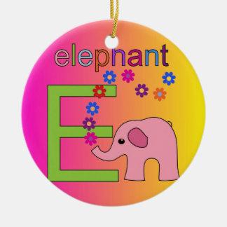 Elephant Letter E Christmas Ornaments