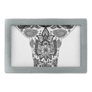 elephant-line-art- rectangular belt buckles
