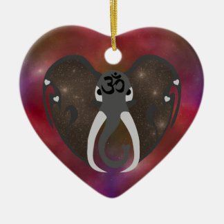 Elephant Listening to the Cosmos Ceramic Heart Decoration
