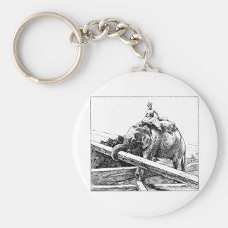 Elephant logging basic round button key ring