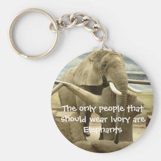 Elephant Love Basic Round Button Key Ring