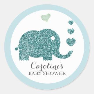 Elephant Love Blue Glitter Baby Shower Sticker
