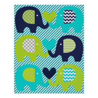 Elephant Love Nursery Poster