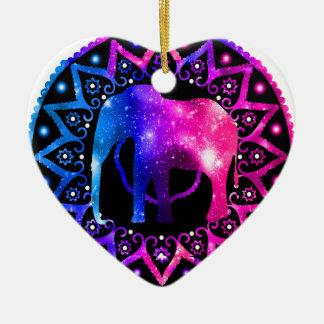 Elephant Mandala Ceramic Heart Decoration