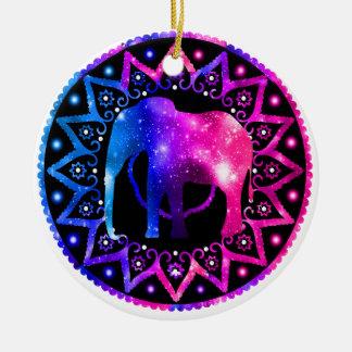 Elephant Mandala Ceramic Ornament