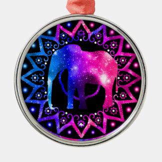 Elephant Mandala Silver-Colored Round Decoration