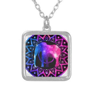 Elephant Mandala Silver Plated Necklace