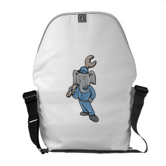 Elephant Mechanic Spanner Standing Cartoon Messenger Bag