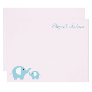 Elephant Mom and Baby Flat Thank You Notes Card