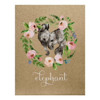 Elephant mom and baby nursery art poster