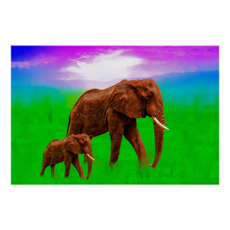 Elephant mom with kid poster