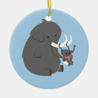 Elephant Mommy and Baby Ceramic Ornament