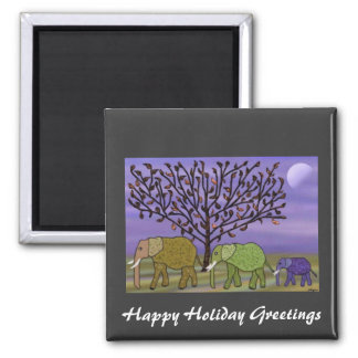 Elephant Moon Holiday Greetings Square Magnet
