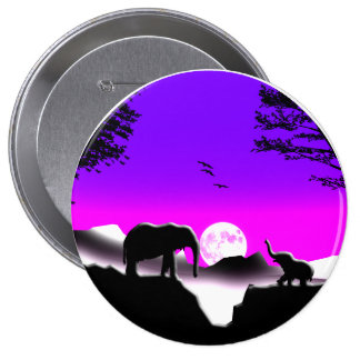 Elephant Mother and Baby Elephant 10 Cm Round Badge