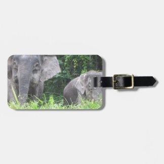 Elephant mother and baby luggage tag