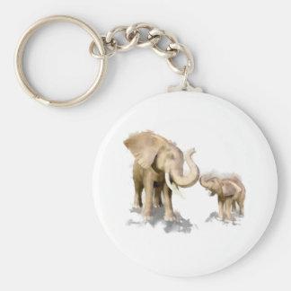 Elephant Mother & Child 2 Basic Round Button Key Ring