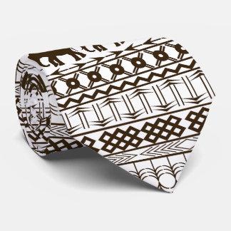Elephant Motif, African Design Horizontal Stripes Tie