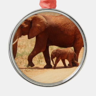 Elephant Mummy and Cub Silver-Colored Round Decoration