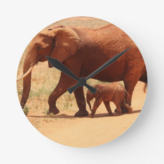 Elephant Mummy and Cub Wallclocks