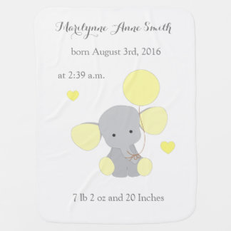 Elephant Neutral Baby Birth Stats Yellow Chevron Buggy Blankets