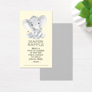 Elephant Neutral Baby Shower Diaper Raffle Ticket