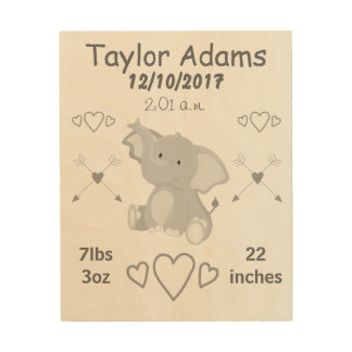 Elephant Nursery Keepsake Baby Birth Stats Wood Print
