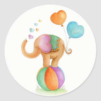 Elephant on a ball circus whimsy watercolor art classic round sticker