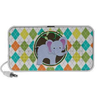 Elephant on Colorful Argyle Pattern Laptop Speaker